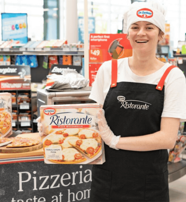 Phenomenon demonstrating Dr Oetker in Supermarkets.